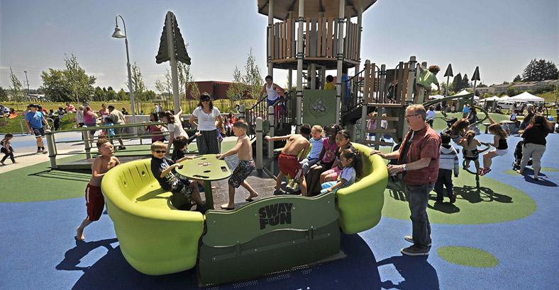 Metro Parks Tacoma STAR Center Spray Garden grand opening.     Photos by Russ Carmack